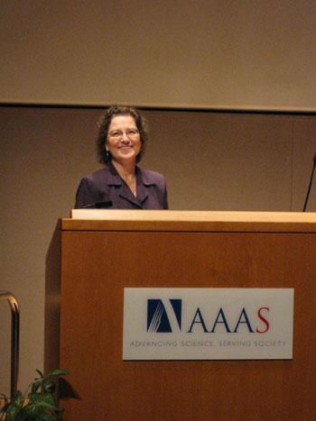 Dr. Beth Turner, NCCOS Oceanographer and U. S. GLOBEC Program Manager, welcomes U.S. GLOBEC final symposium participants and speaks about the history of GLOBEC.