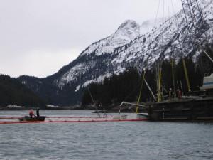 Raising sunken fishing vessel