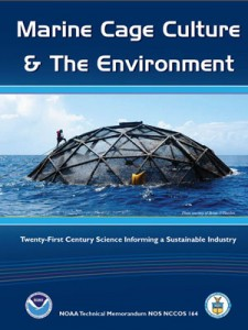 The front cover of the NOAA report on offshore aquaculture using marine cages.