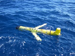 The Slocum ocean glider comes to the surface to transmit data after every 4-6 hour underwater data collection trip. Photo Credit: C. Lembke, University of South Florida.