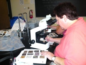 Galveston PMN volunteer examining phytoplankton sample