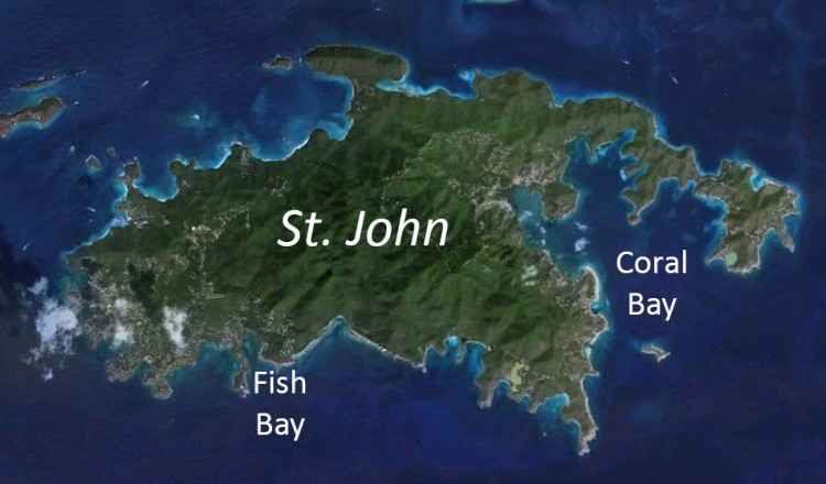 satellite image of St. John, U.S. Virgin Islands
