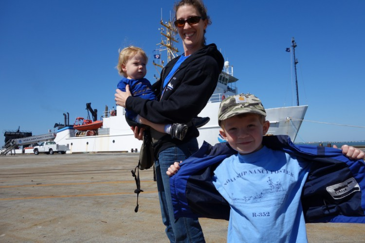 Jacqui, Porter, and Joe Degan visit the NOAA Ship Nancy Foster on family day.