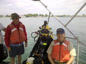 Hardhat diver en route to sampling site on Niagara River.