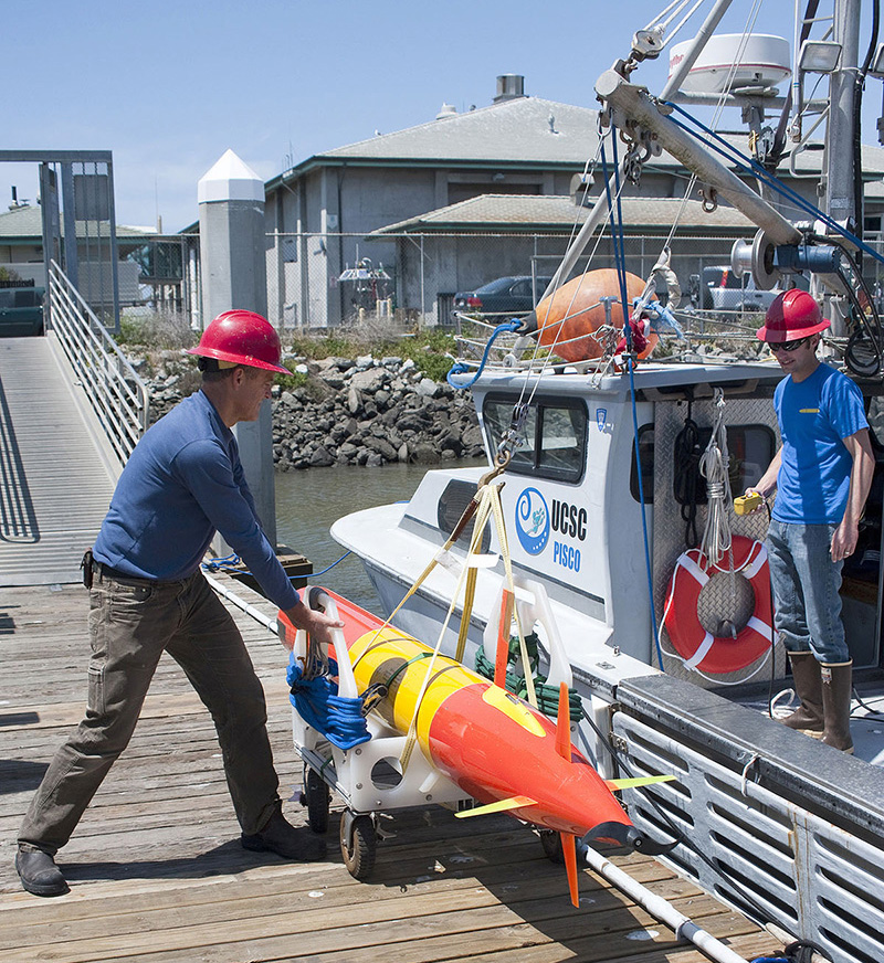 A much smaller third-generation ESP mounted within a long-range autonomous underwater vehicle will be able to physically follow and monitor developing blooms. Credit: Todd Walsh, MBARI