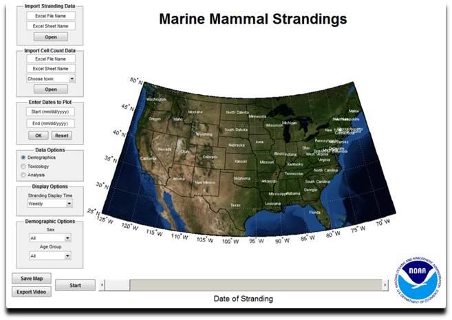 Screenshot of mapping tool developed to examine marine wildlife health data.
