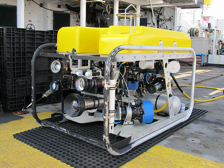 This leg of the expedition will use a new remotely operated vehicle, the SubAtlantic Mohawk 18, owned by the National Marine Sanctuary Foundation and the Flower Garden Banks and operated by the Undersea Vehicles Program at the University of North Carolina Wilmington (UVP/UNCW). Credit: UVP/UNCW.