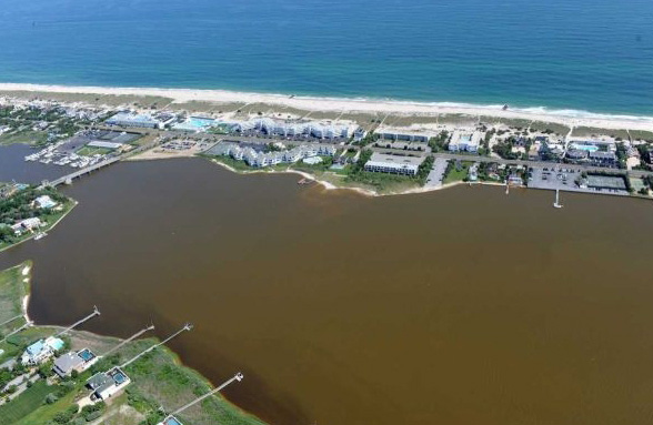 A brown tide clouds the Moriches Bay. NCCOS-funded research shows that brown tides are capable of adapting quickly to changing environmental conditions forming blooms sometimes toxic to shellfish and attenuating light that destroys seagrass beds. Credit: Stony Brook University