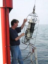 MERHAB LGL investigator sampling Lake Ontario.