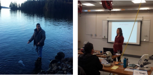 Left: Brian Holter of the Craig Indian Association sampling phytoplankton. Right: Jen Maucher-Fuquay teaching microscopy techniques to identify toxic and nontoxic phytoplankton species. (Credit S. Morton)