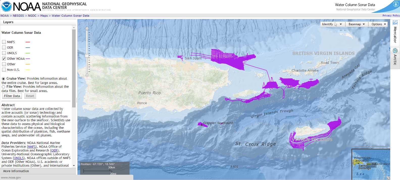 The National Geophysical Data Center Water Column Sonar Data Viewer showing fishery echosounder survey lines conducted by NCCOS from 2010 to 2014 in the US Caribbean.