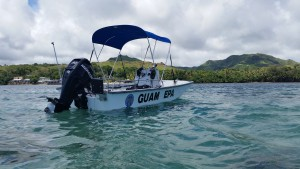 The Guam EPA's small boat out in Cocos Lagoon, where we examine the area for chemical contaminants. Credit: NOAA