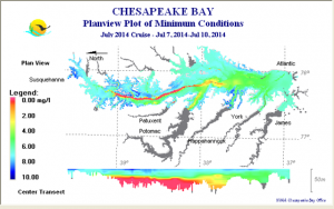 "This chart shows, in the upper portion, the location of hypoxic (yellow, orange and red shading) bottom waters of Chesapeake Bay during the early July,2014 survey. The bottom portion shows a longitudinal ""slice"" of the Chesapeake Bay main stem showing the depth of the hypoxic waters thru the central area of the Bay. These data are collected by Maryland and Virginia as part of the comprehensive Chesapeake Bay Monitoring Program. (Credit: Maryland Department of Natural Resources)"