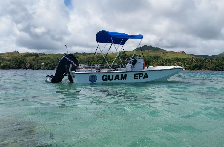 The Guam EPA boat we used in the Achang Reef Flat Marine Preserve.