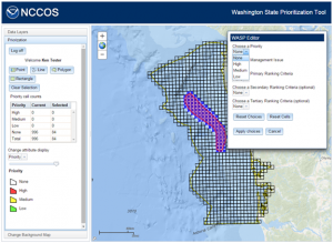The NCCOS designed WASP tool, showing user selection options. Credit: NOAA
