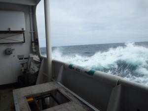 Waves crash against the side of the NOAA ship Ron Brown as it sails off the coast of Alaska. Credit: NOAA.