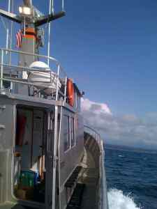 Aboard the Oregon State University R/V Elakha during a MOCHA research sampling cruise off the Oregon coast. Credit: OSU.