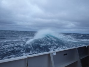 The seas grow rough in the Bering Sea for the scientists and crew on the Ron Brown. Credit: NOAA.