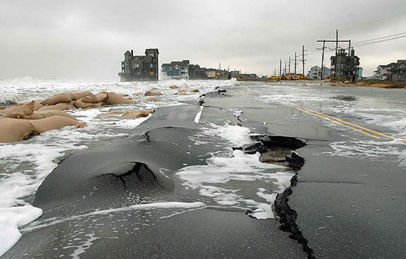 Coastal communities face resiliency challenges with the combined effects of storm surge and sea level rise. Credit U.S. Department of Transportation