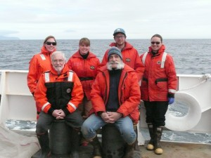 NOAA RV Ron Brown crew members taking a break from sampling in the Arctic Ocean. Front left to right: Ian Hartwell, Max Hoberg (UAF) Back left to right: Rachel Pryor (OR&R), Terri Lomax (Alaska DEC), Brian Stillie (Alaska DEC), and Katie Beaumont (student)
