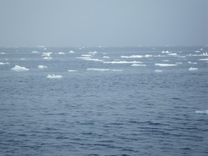 Icebergs are seen floating in the distance, a rare site for the crew of the . Credit: NOAA.