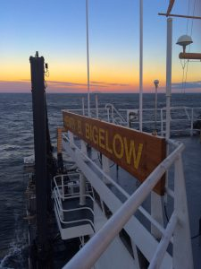 A sunset view from the upper deck of the NOAA ship Bigelow in the Gulf of Maine. Credit: NOAA