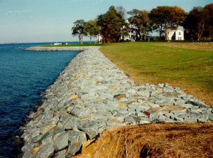 picture of riprap, boulders and rubble used to armor the shoreline