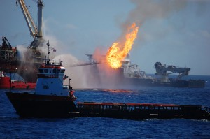 Early response to the Deepwater Horizon Macondo oil well drilling platform explosion, fire, and oil spill. Credit NOAA