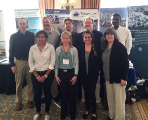 NCCOS staff attending the Gulf of Mexico Oil Spill Conference. Front row left to right: Liz Gomez, Marie DeLorenzo, Janessy Frometa, Mary Erickson. Back row: Julien Lartigue, Frank Parker, Ren Salgado, Mike Fulton, Chris Jeffrey.