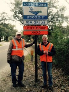 Volunteers Paul Bauersfeld and Pete Key begin Adopt-A-Highway litter cleanup on a chilly February morning in Charleston County, SC. (Credit: Katy W. Chung)