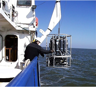 A 'rosette' of Niskin bottles is used to collect water samples at discrete depths for measurement of water quality conditions such as dissolved oxygen, nutrients, and phytoplankton species richness; data that forms the basis of ecological models and model evaluation. Credit N. Rabalais, LUMCON
