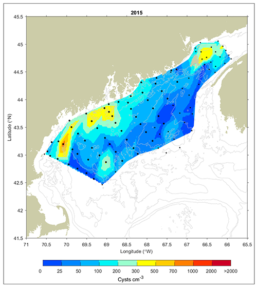 Concentrations of Alexandrium cysts in the Gulf of Maine, 2015.