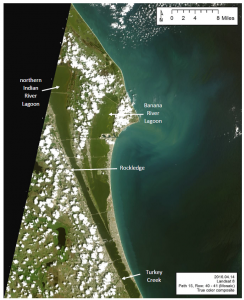 Landsat 8 true color image of northern Indian River Lagoon system from 4 April 2016. Note relatively clear water between Rockledge and Turkey Creek and evidence of a phytoplankton bloom in Banana River Lagoon and the northern Indian River Lagoon. Image courtesy St. Johns River Water Management District