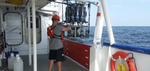 Scientists deploy a sensor to collect water samples to test oxygen levels during the 2015 cruise to measure the size of the 'dead zone' in the Gulf of Mexico. Credit: LUMCON
