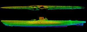 Sonar image of U-576 wreck site. Credit: NOAA/SRI.