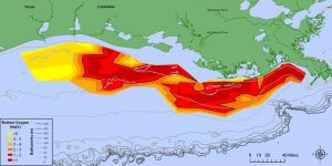 Map showing distribution of bottom-water dissolved oxygen from July 28 to August 3, 2015. Black lined areas  -  areas in red to deep red  -  have very little dissolved oxygen. Data: Nancy Rabalais, LUMCON; R Eugene Turner, LSU. Credit: NOAA