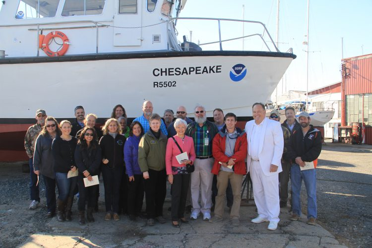 Cooperative Oxford Lab employees and partners, representing NCCOS, NMFS, Maryland DNR and Cambridge Shipyard Facility, celebrate the naming of NCCOS' Research Vessel CHESAPEAKE. Also attending was Maryland State Senator Addie Eckardt, who represents the counties of Caroline, Dorchester, Talbot, and Wicomico in the Maryland General Assembly.