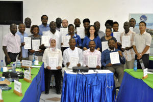 Participants receive IAEA certificates of training at the Kenya Marine Fisheries and Research Institute in Mombasa, Kenya. Credit: NOAA