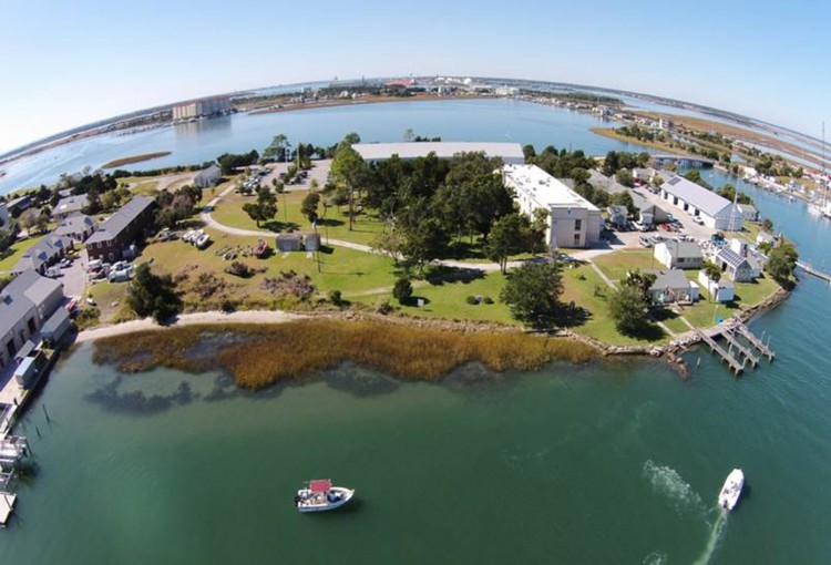 Aerial view of nature-based shoreline at NOAA laboratory on Pivers Island in Beaufort, North Carolina, in 2014.