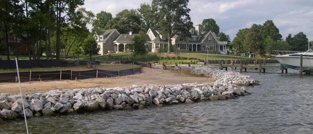 Riprap shoreline in Chesapeake Bay.