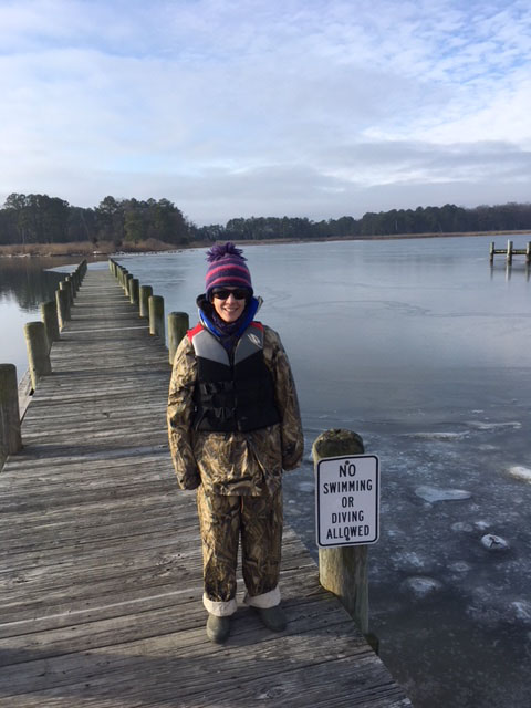 Dr. Suzanne Bricker at Bogles Wharf in Eastern Neck Wildlife Refuge (Rock Hall, MD) awaiting boat transport to oyster farm.