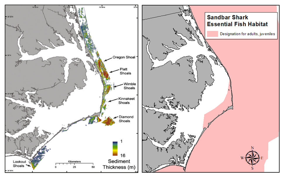 map of selected sand shoals off NE NC and map of sandbar shark essential fish habitat