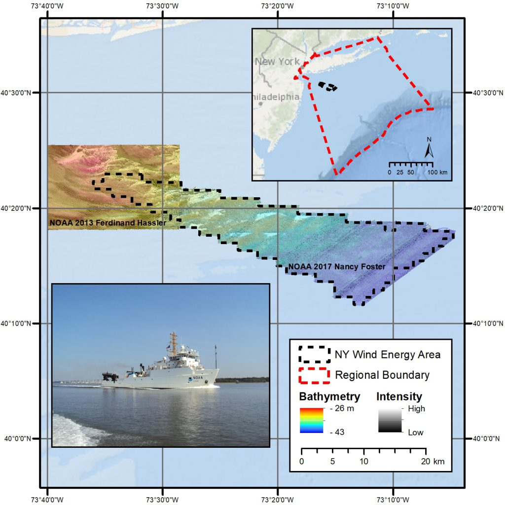 In October 2017, NCCOS scientists collected full coverage high-resolution multibeam bathymetry, backscatter intensity, and split-beam fishery acoustics data in the New York Wind Energy Area, a proposed offshore wind power site south of Long Island.