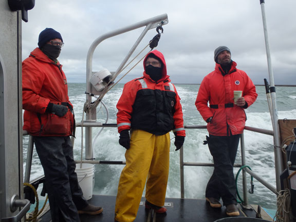 Scientists en route to strata and sampling locations during 2015 mission in the Arctic.