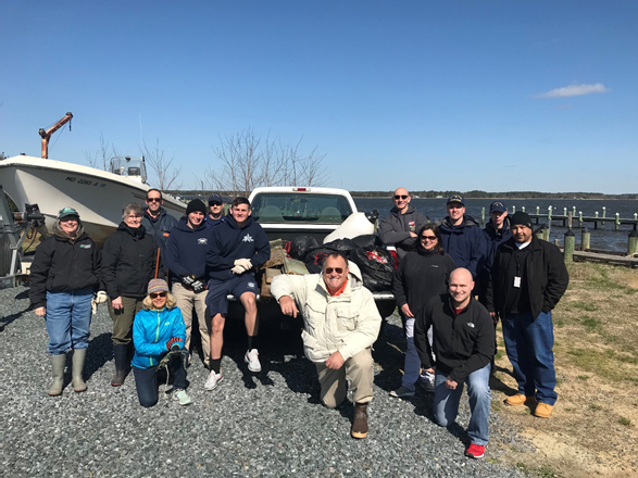 NCCOS and Maryland Department of Natural Resources staff from Cooperative Oxford Laboratory partnered with U.S. Coast Guard Station Oxford personnel for an Oxford, Maryland, clean-up event to support Earth Day 2018.
