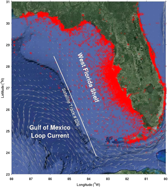 Map showing observations of red tide Karenia brevis in the eastern Gulf of Mexico from 1953 to 2014.