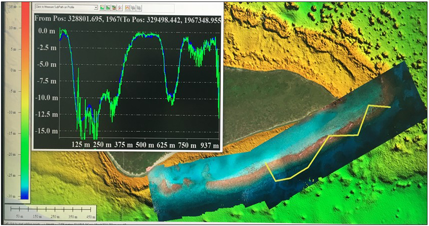 map and chart comparing drone photogrammetry with LIDAR data for reef off of Buck Island, USVI