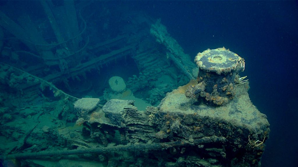 Bow of shipwreck thought to be the New Hope, a tug lost off the Louisiana coast in 1965 during Tropical Storm Debbie.