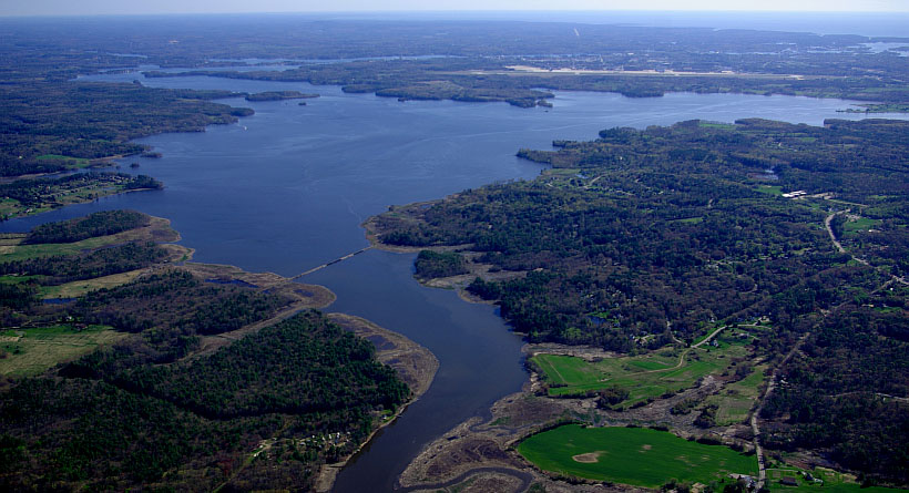 aerial view of the Great Bay National Estuarine Research Reserve in New Hampshire