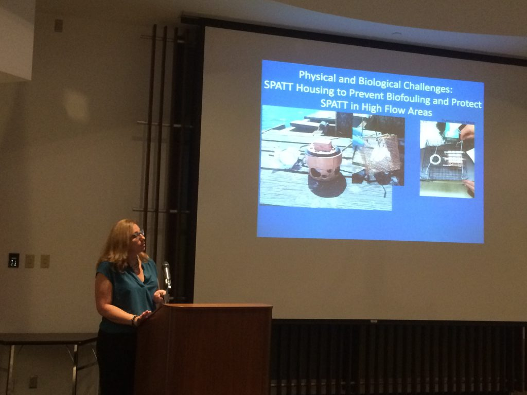 NCCOS-sponsored scientist Dr. Meredith Howard (SCCWRP) at August workshop discussing improving tools for monitoring multiple harmful algal bloom toxins at the land-sea interface in coastal California.